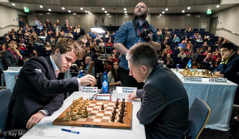 Round 4: Magnus Carlsen vs Michael Adams